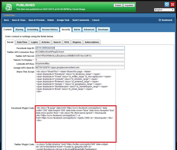 Agility CMS Website Configuration Settings